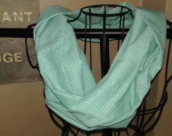 Fabric Infinity Scarf Circle Scarf Vintage Green and White Gingham Print