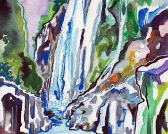 Tamul Falls in Mexico - Watercolor Painting of a Waterfall - Waterfall Art - Scenic Painting of Mexican Waterfall by Jen Tracy - Purple Sky