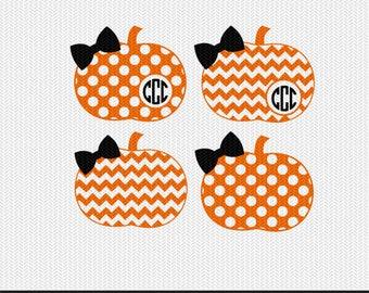 chevron pumpkin polka dot pattern monogram frame svg dxf file instant download stencil silhouette cameo cricut clip art commercial use