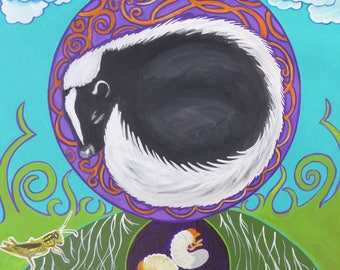 Little Skunk's Dream Original Skunk Painting