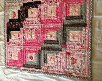 baby girl quilt with inspirational embroidered words 30x40