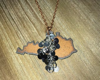 Kentucky Rusted Metal Necklace | Silver Charm | Antique Copper Chain