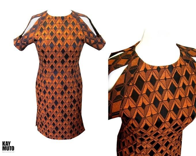 Unique shiftdress size Large orange black cut out sleeve