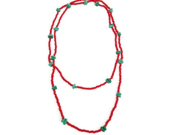 Long Skinny Necklace in Vivid Red and Green
