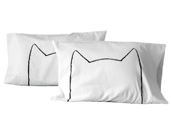 Couples Valentine's Gift, Cat Lover Gift, Cat Nap Pillowcase Set, gift for her, wife gift, cotton anniversary, his her pillow cases cat lady