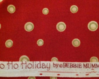 Ho Ho Holiday by Debbie Mumm for South Seas Imports, Red Christmas Fabric,with Light Gold  Dots with Green Circles, Fabric by the Yard, OOP