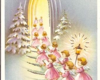 Vintage Christmas Pink Angels Graphic Image Art Fabric Block Doodaba