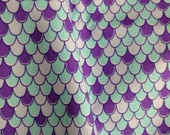 One Half Yard of Fabric Material  - Mermaid Scales, Unicorn Scales, Fish Scales, Blue