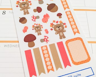 15 Fall and 8 Flag Planner Stickers- Fall Themed Stickers- perfect in your Erin Condren planner, wall calendar or scrapbook