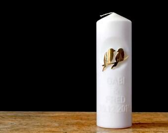 "Wedding candle ""Birds"", + name 25 x 8"