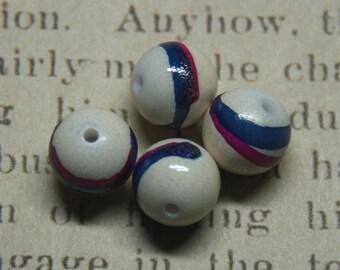 "Acrylic beads-5 ""brush stroke"" white/blue/pink 12mm"