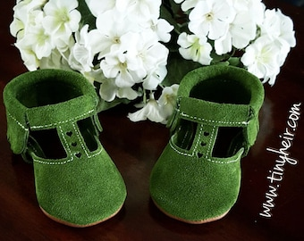 T-strap Green Olive Mary Janes