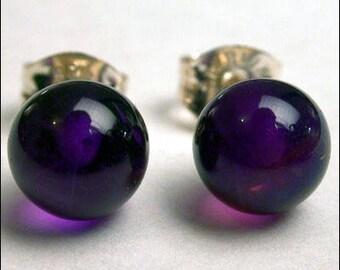 Amethyst 6mm Round Studs Earrings