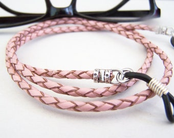 Pink Eyeglass Chain, Braided Leather Chain for Glasses, Red and Gold, Eyeglass Chain, Eyeglass Necklace Holder, by eyewearglamour