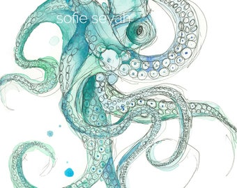 Señor Octopus - Turquoise Watercolour and Ink Nautical Sofie Seyah Illustration - Art Print