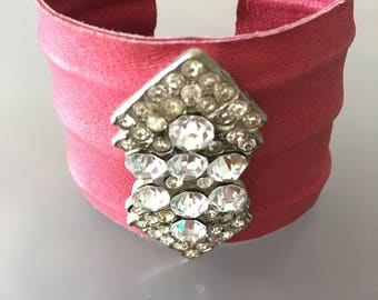 Vintage crystal brooch on hot pink leather cuff