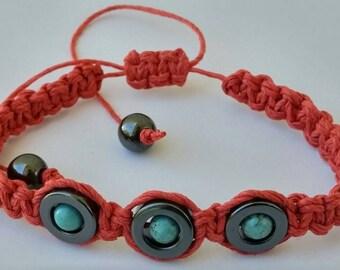 Hematite Turquoise Red  Hemp Bracelet, Bracelet, Hemp Jewelry, Bracelet, Hemp, Jewelry, Braided Bracelet, Hemp Unique Jewelry, Hemp Anklet