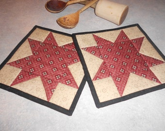 Quilted Star Pot Holder/Star Hot Pads/Country Hot Pads/Pot holders / Item #467