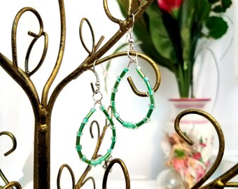 Teal Beaded Wire Hoop Earrings by Anne O'Brien Design