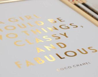 Custom Foil Print - Metallic wedding vows, quote, lyrics or bible verse -- modern decor