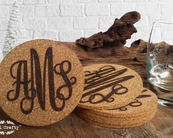Set of 6 Cork Coaster Engraved Personalized Curly Initial Monogram Groom Bride Bridesmaid Groomsman Rustic Wedding Gift Memento