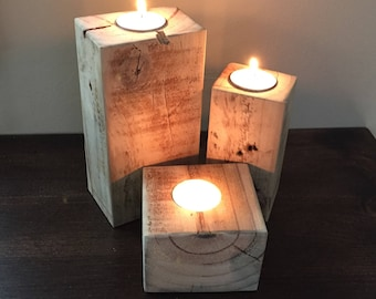 Reclaimed Wood Candle Holder, Rustic Home Decor, Wood Tealight Holder, Primitive Decor, Rustic Wedding,5th Anniversary, Gift for Him