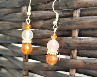 Orange Agate and Swarovski crystal earrings