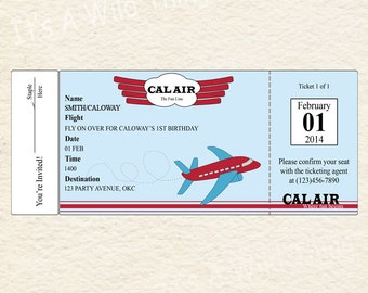 Printable Airplane Ticket Invitations