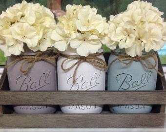 Rustic Mason Jar Trays, Beautiful Arrangment's, Home Decor, Fall Decor, Country Cottage Decor, Shabby Chic, Chalk Painted, Customized Option