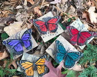 5-Pack-Feather Butterfly Clips-Red-Orange-Yellow-Green-Blue