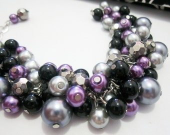 Plum Pearl Bracelet, Bridesmaid Gift, Chunky Cluster Bracelet, Bridal Wedding Jewelry in Purple, Black and Silver Gray