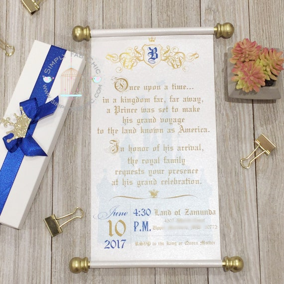 Royal Prince Baby Shower Scroll Wedding Invitation Vow
