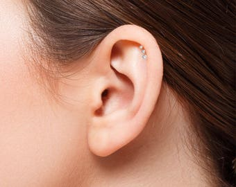 316L Surgical Steel Ear Cartilage Helix Tragus Stud Earring Ring Labret Jewelry Choose Size, Color 18G