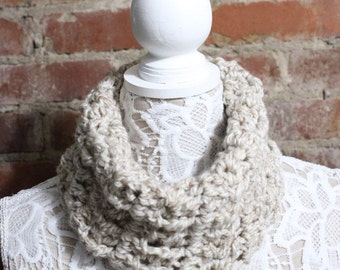Textured Cowl Neck Scarf - Oatmeal
