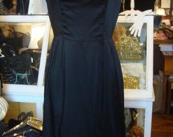 Vintage 1950's Black Satin and Chiffon Wiggle Dress * Small-Medium