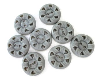 Gray Leaf Pinwheel Vintage Buttons - 8 Plastic Sew Through for Sewing Knitting Molding