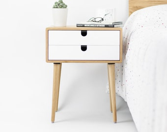 Oak Wood White Bedside Table Nightstand Mid Century Modern Retro Scandinavian 2 Drawers