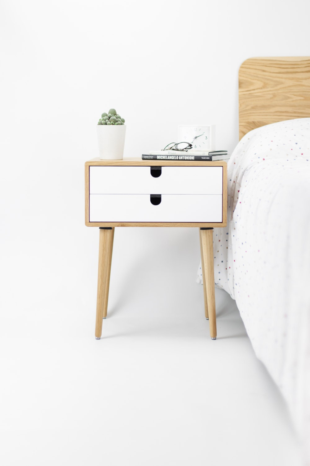 Oak Wood White Bedside Table Nightstand Mid Century