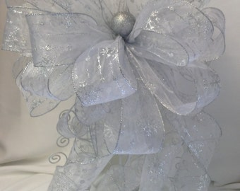 Large Silver Tree Topper Bow - Gift Bow - Christmas Tree Topper Bow - Holiday Bow -  Silver Snowflake Tree Topper Bow -  **FREE SHIPPING**