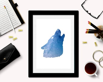 Downloadable Wolf Art Print - Wolf Silhouette - Wolf Download - Wolf Printable - Galaxy Art - Space Art - Wolf Decor - Instant Download