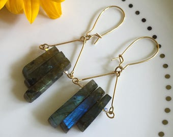Labradorite Earrings // Handmade gold and labradorite earrings with genuine Swarovski crystals