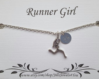 Runner Girl - Running Jewelry - Runner Necklace - 5K , 10K, Half Marathon, Marathon Necklace, Running Necklace Race Finisher Gift