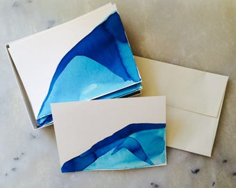 Handmade Icy Blue Mountain Landscape Notecards, Set of 6