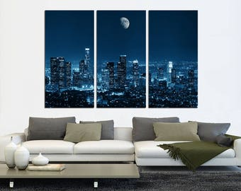 "Downtown Los Angeles Skyline,3 Panel Split (Triptych) Canvas print. Stretched on 1.5"" wood frames - wall decor & interior design."