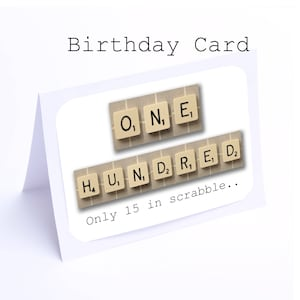100th birthday card etsy scrabble 100th birthday card 100 its only 15 in scrabble 2 gifts bookmarktalkfo Images
