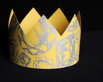 Letterpress Yellow Jewel Party Crown