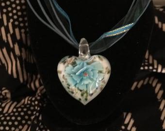Blue flower glass heart pendant ribbon corded necklace