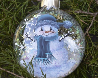 Painted and Personalized Snowman Ornament