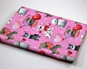 PUPPY LOVE VALENTINE Pillowcase Sweetheart Roses Candy Heart Hugs and Kisses Dog Lover  Hearts Love
