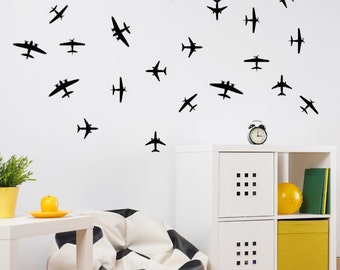 Airplane Decals - Airplane Wall Decals - Airplanes Wall Stickers - Childrens Room Decor - Kids Room Vinyl - Kids Wall Decal - Set of 24